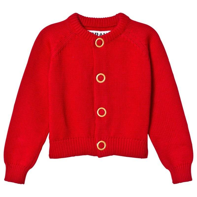 The BRAND Cardigan Puff Knit Red Melange80/86 cm