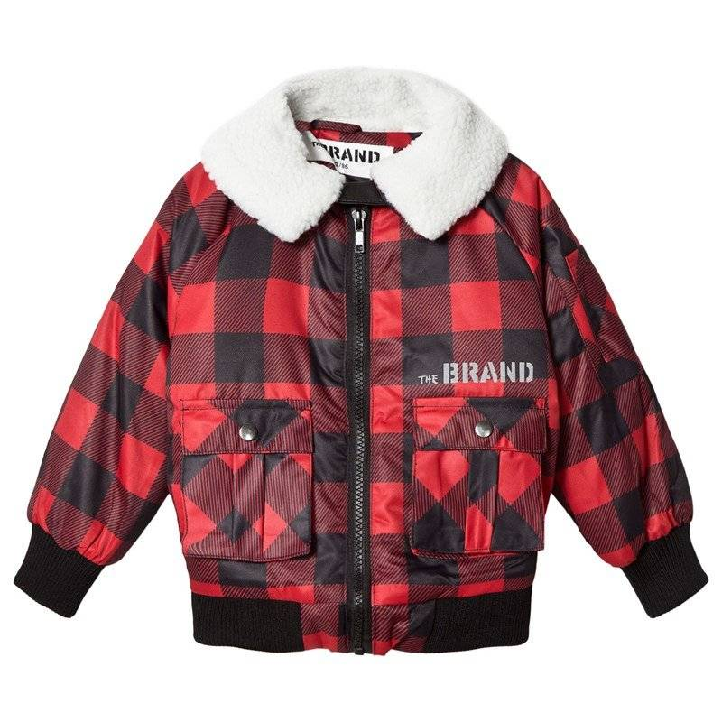 The BRAND Pilot Sherling Jacket Red Checked Flanell With Fake Sherling Collar80/86 cm