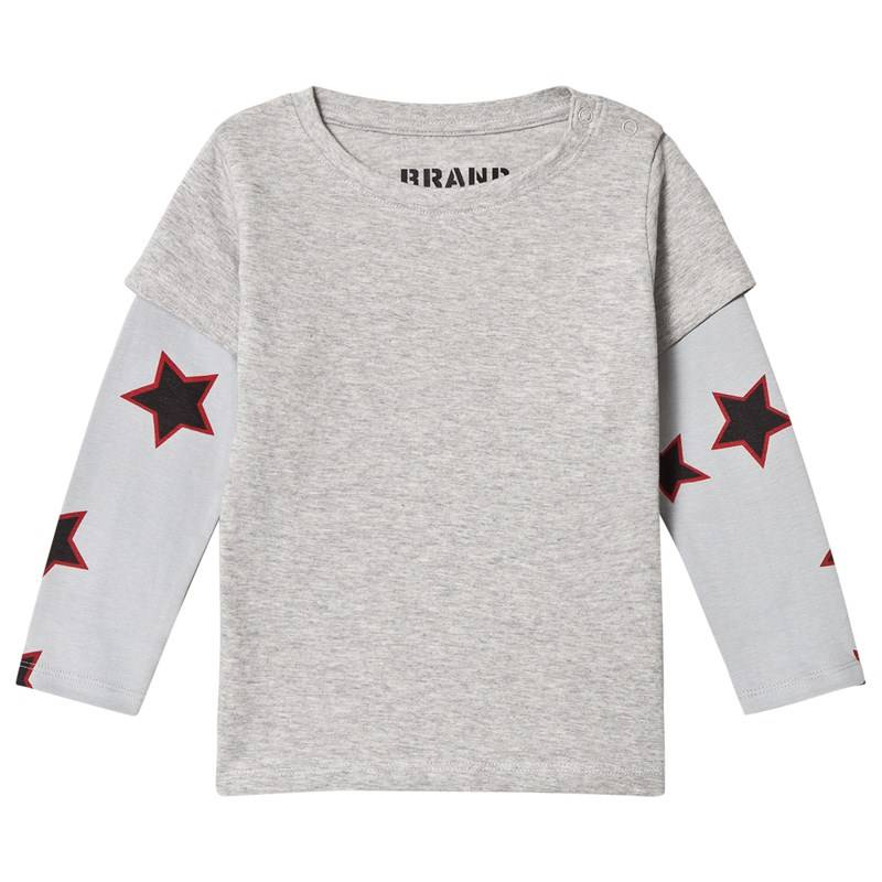 The BRAND Double Tee Grey Mel With Red Allstar Sleeves80/86 cm