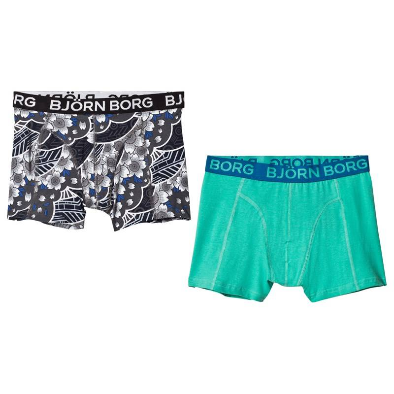 Bjorn Borg 2 Pack of Green and Print Trunks146-152cm (10-12 years)