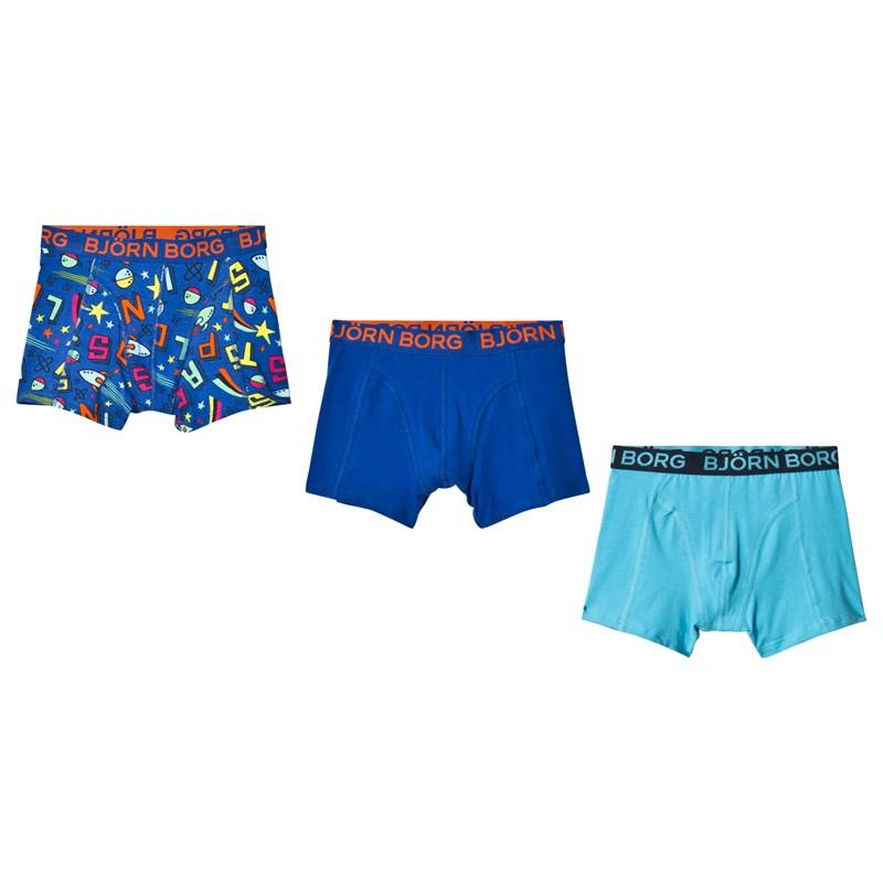 Bjorn Borg 3 Pack of Blue, Navy and Printed Trunks122-128cm (6-8 years)