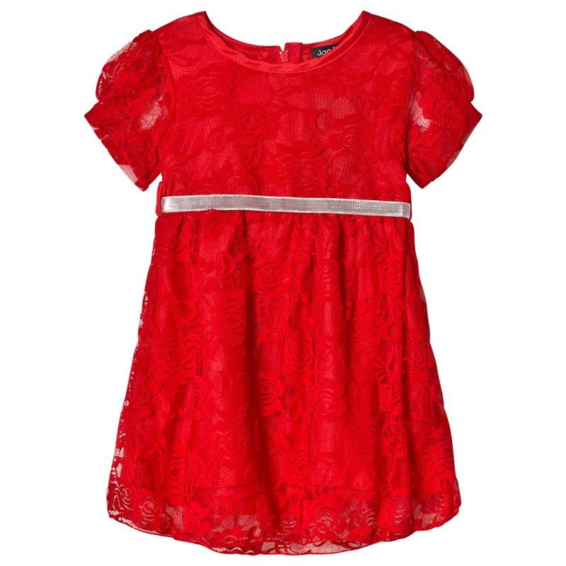 Jocko christmas dress in red lace with silver belt74 cm