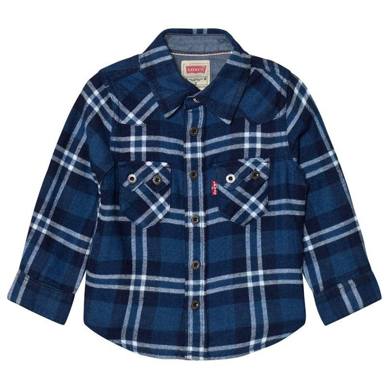 Levis Kids Blue and White Check Woven Shirt5 years