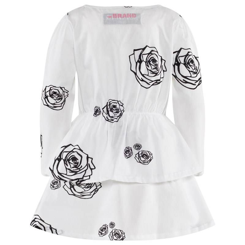The BRAND Boat Dress White Roses92/98 cm