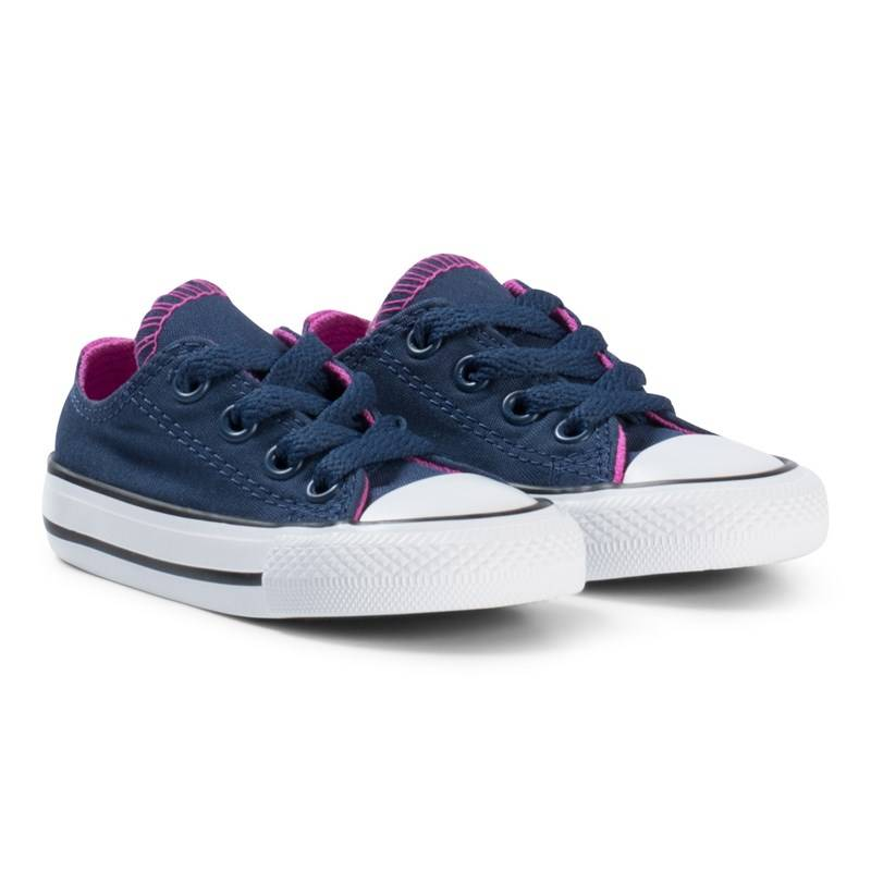 Converse Navy and Pink Chuck Taylor All Star Double Tongue OX Infants Trainers20 (UK 4)