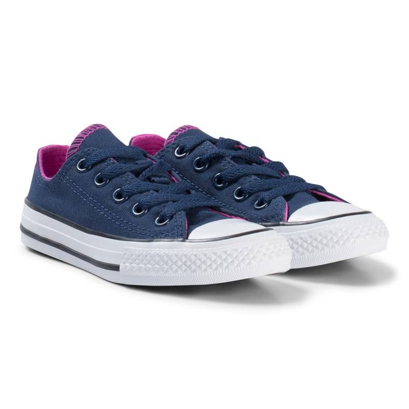 Converse Navy and Pink Chuck Taylor All Star Double Tongue OX Junior Trainers27 (UK 10)