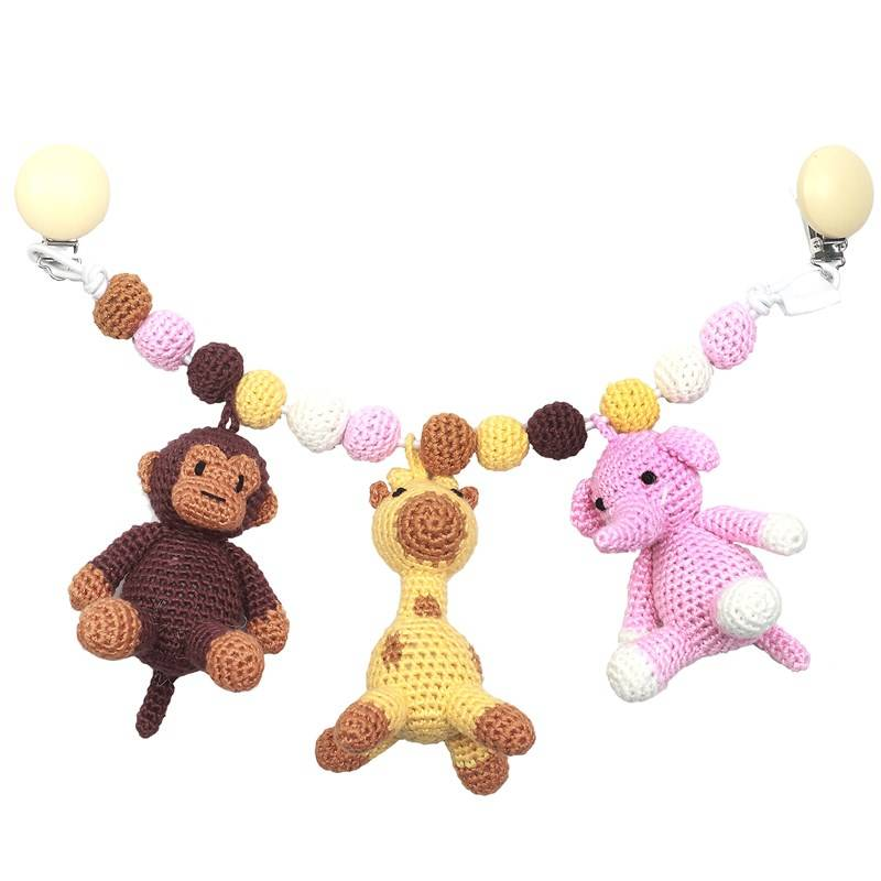 natureZOO Large Trolley Mobiles - Monkey, Giraffe And Elephant Light Pink