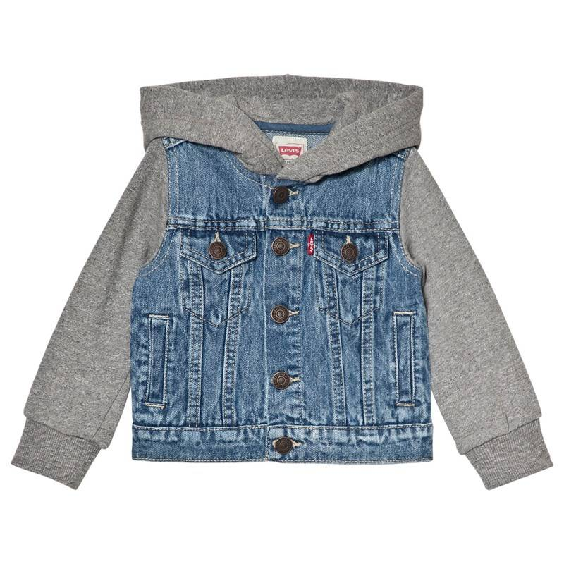 Levis Kids Mid Wash Denim Trucker Jacket with Sweat Sleeves and Hood10 years