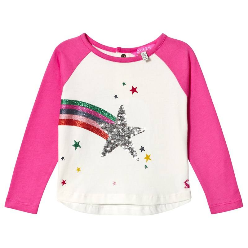 Joules Cream & Pink Lorna Sequin Star Long Sleeve Tee1 year