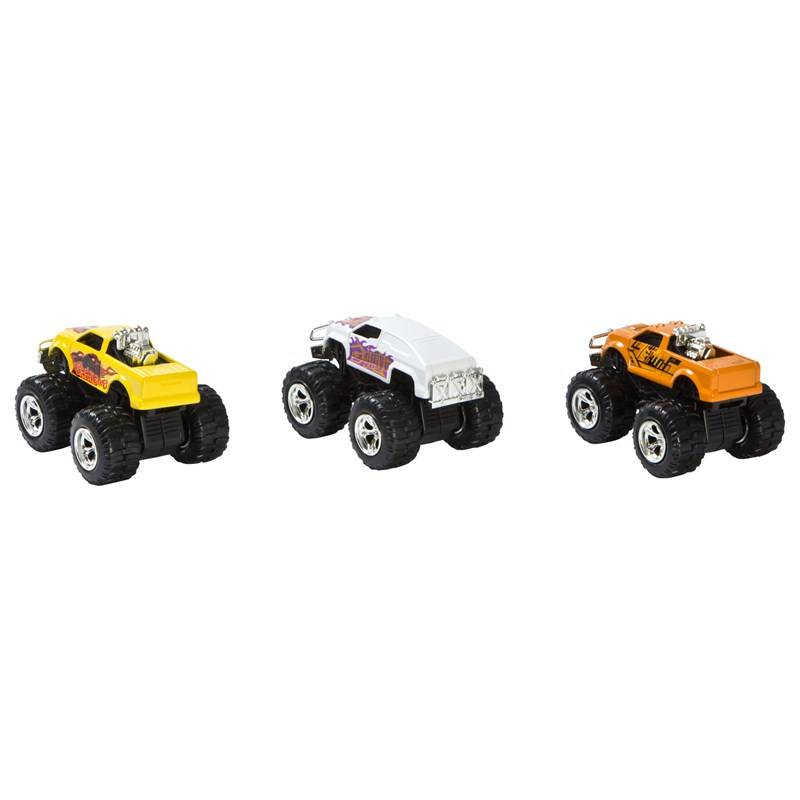 Motormax 3-pakkaus Pull-Back Monster Trucks