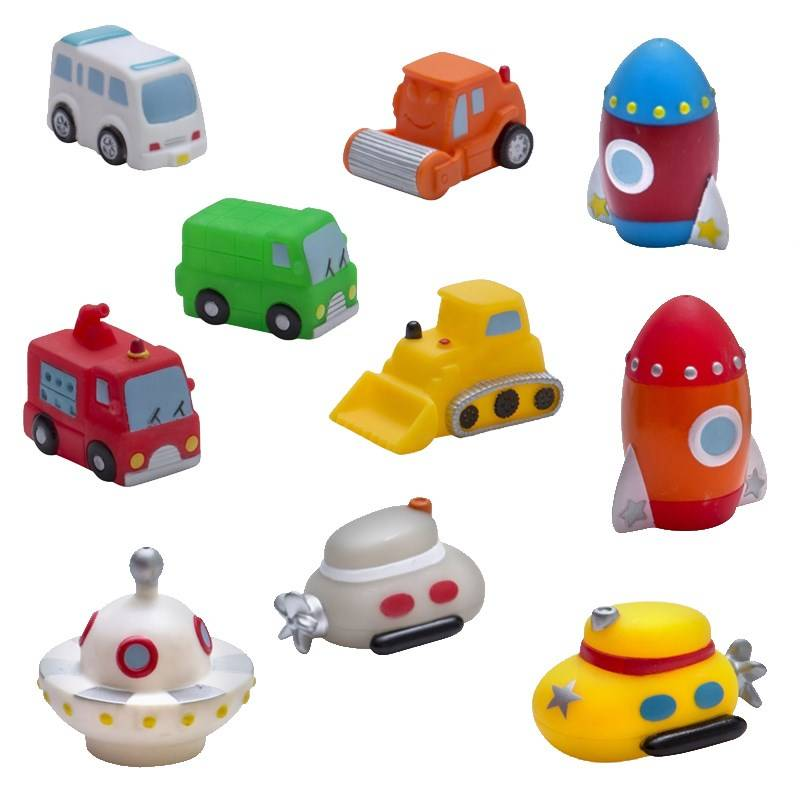 Rätt Start Vehicles and Space Invaders Bath Toys, 10 Pack