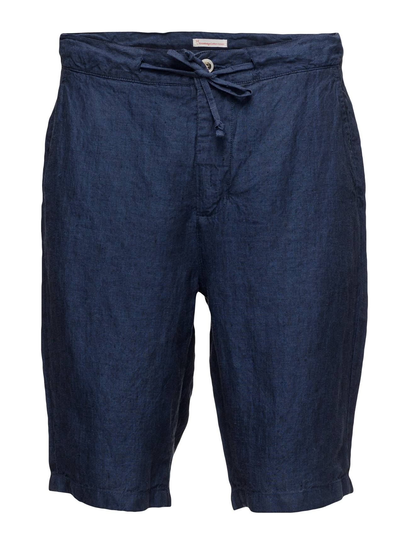 Knowledge Cotton Apparel Loose Yarn Dyed Linen Shorts