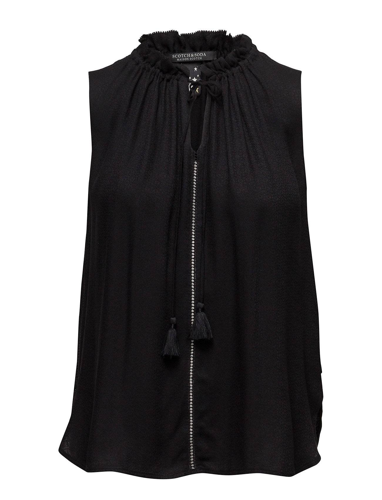 Scotch & Soda Sleeveless Top With Ruffle Neckline And Ruffle Inserts