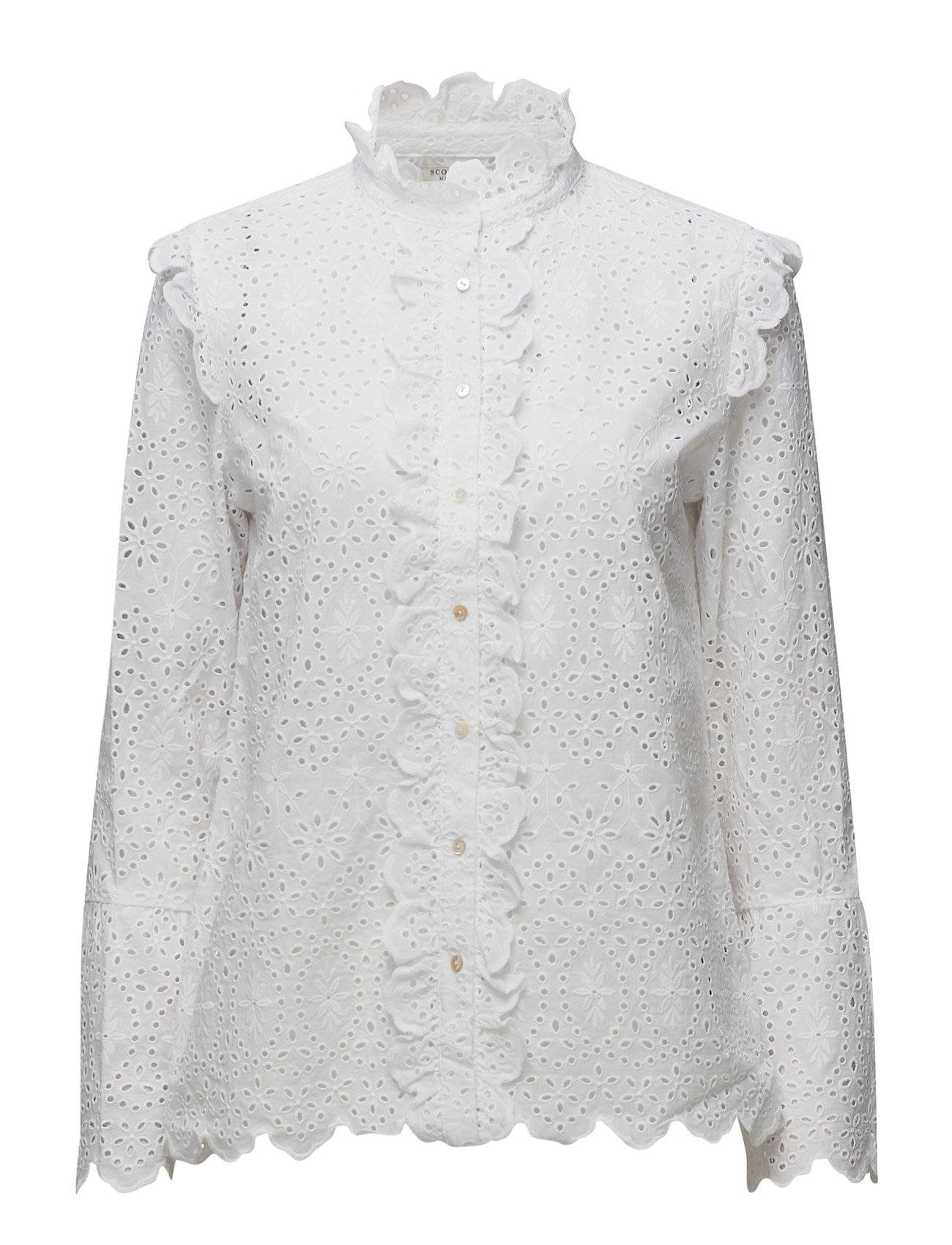 Scotch & Soda Broderie Anglaise Button Up Shirt With Ruffle Details