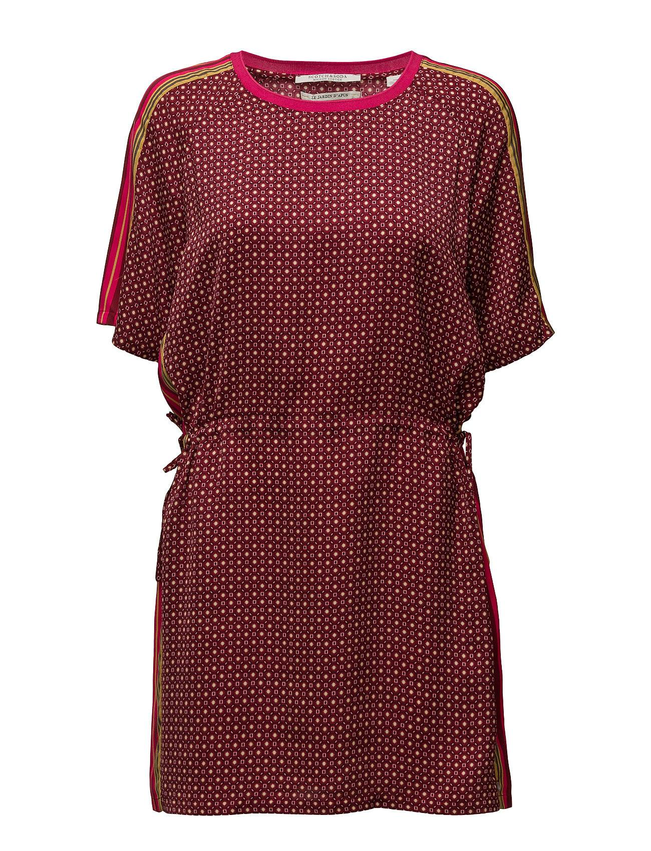 Scotch & Soda Silky Feel Dress With Placement Prints And Tie Detail