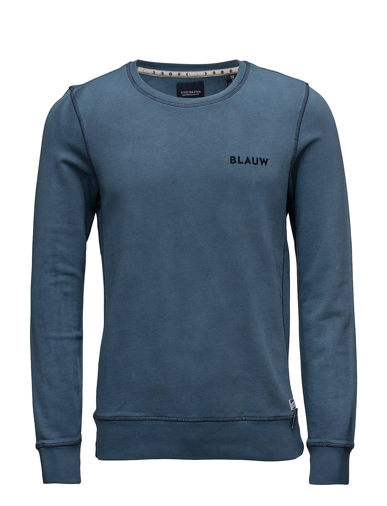 Scotch & Soda Ams Blauw Garment Dyed Sweat With Chest Embroidery