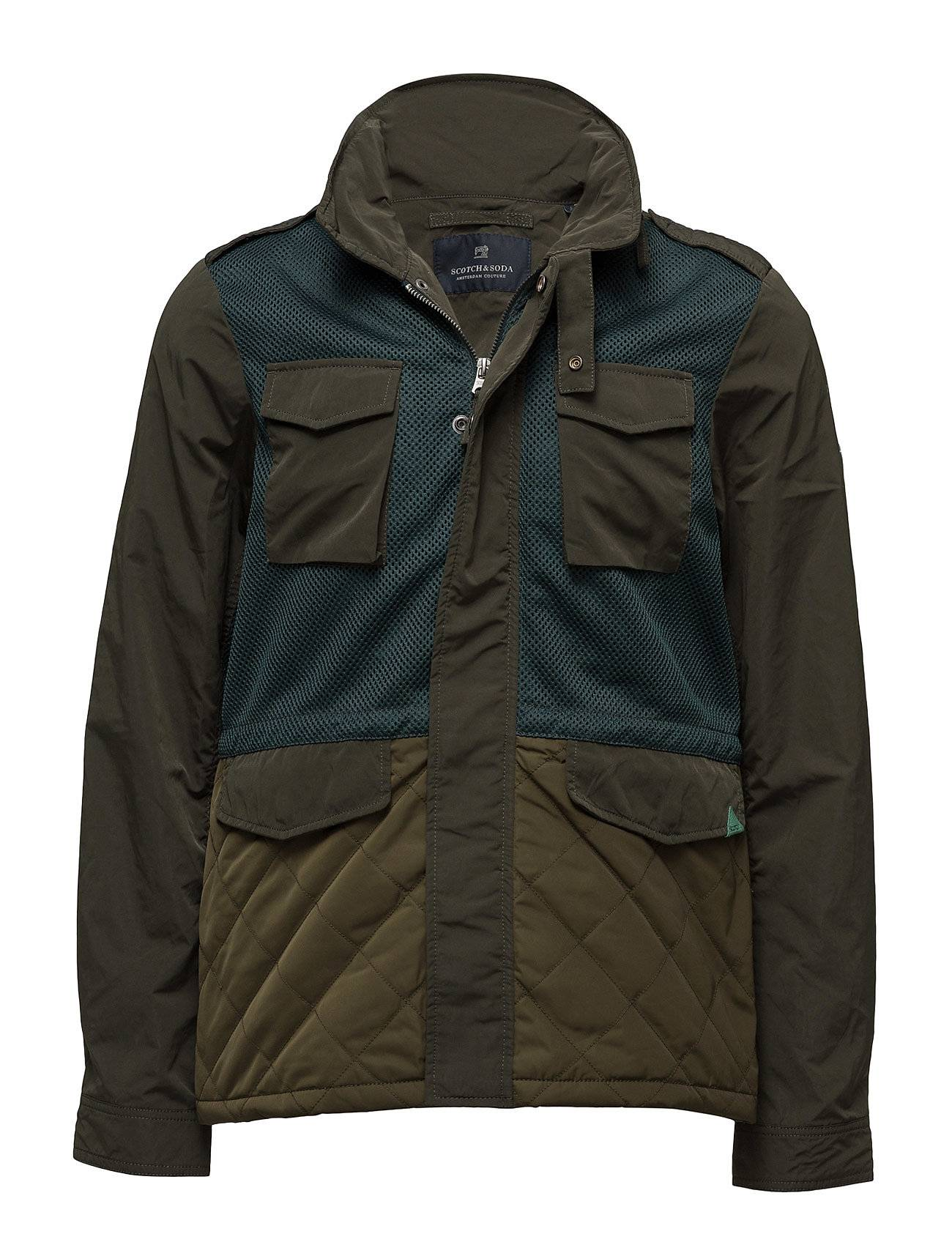 Scotch & Soda Jacket In Mix & Match Polyester/ Nylon With Military