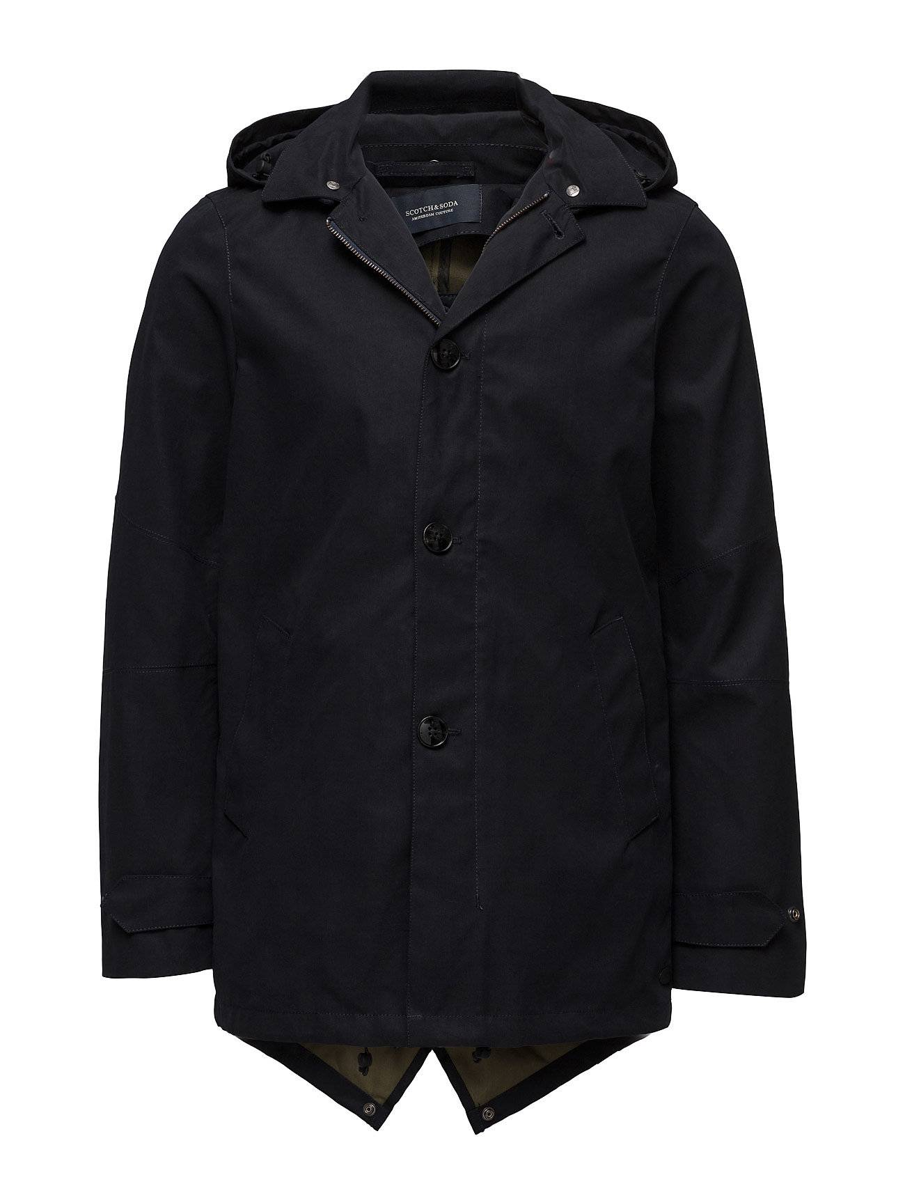 Scotch & Soda Trench Coat In Bonded With Detachable Hood And Parka
