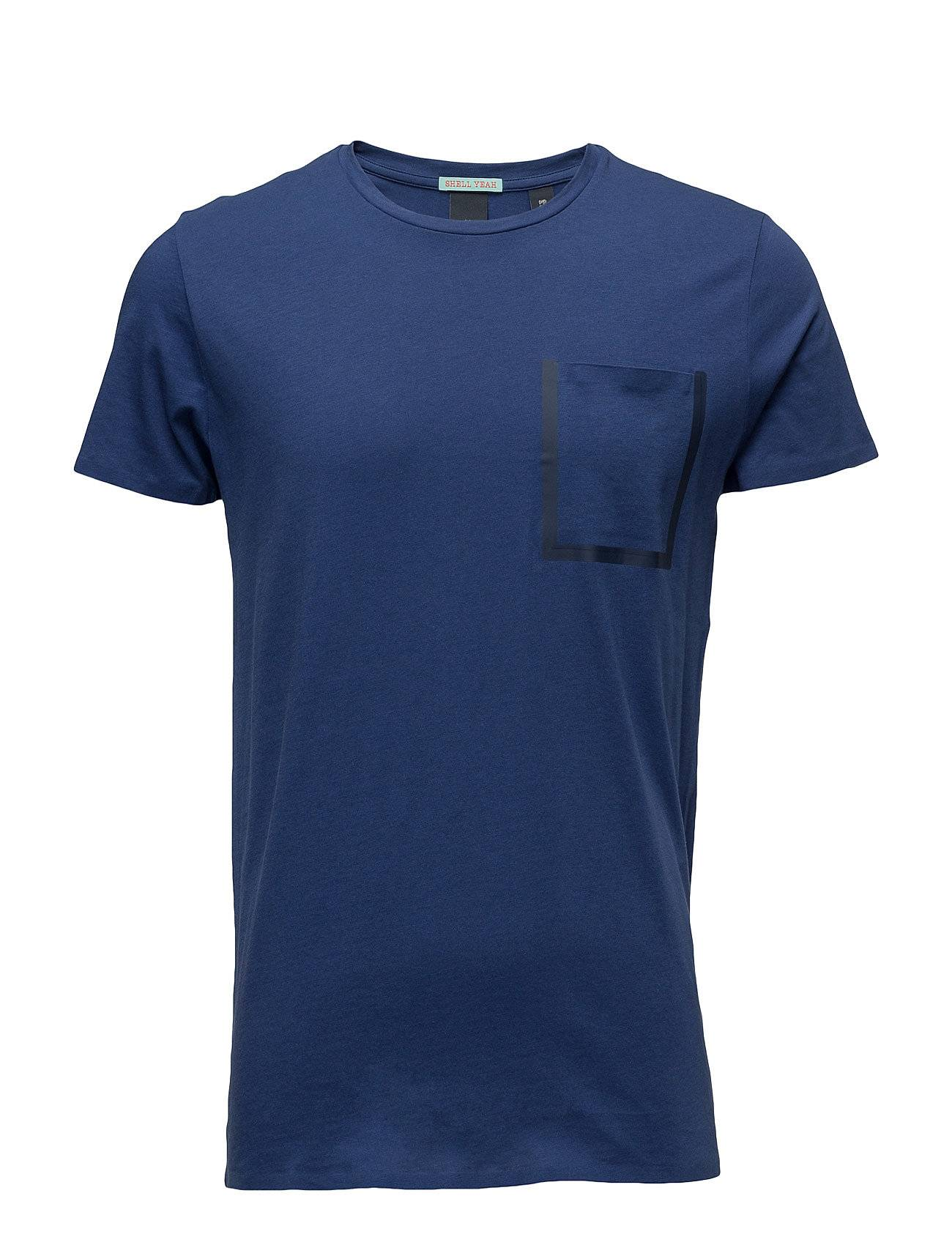 Scotch & Soda Tee With Glued Seams And Contrast Tape At Chestpocket