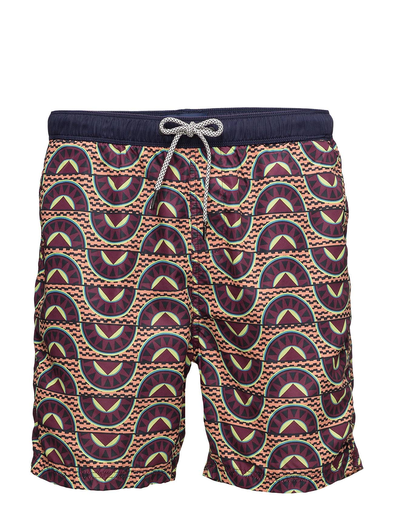 Scotch & Soda Medium Length Swim Short In Fine Peached With Patter