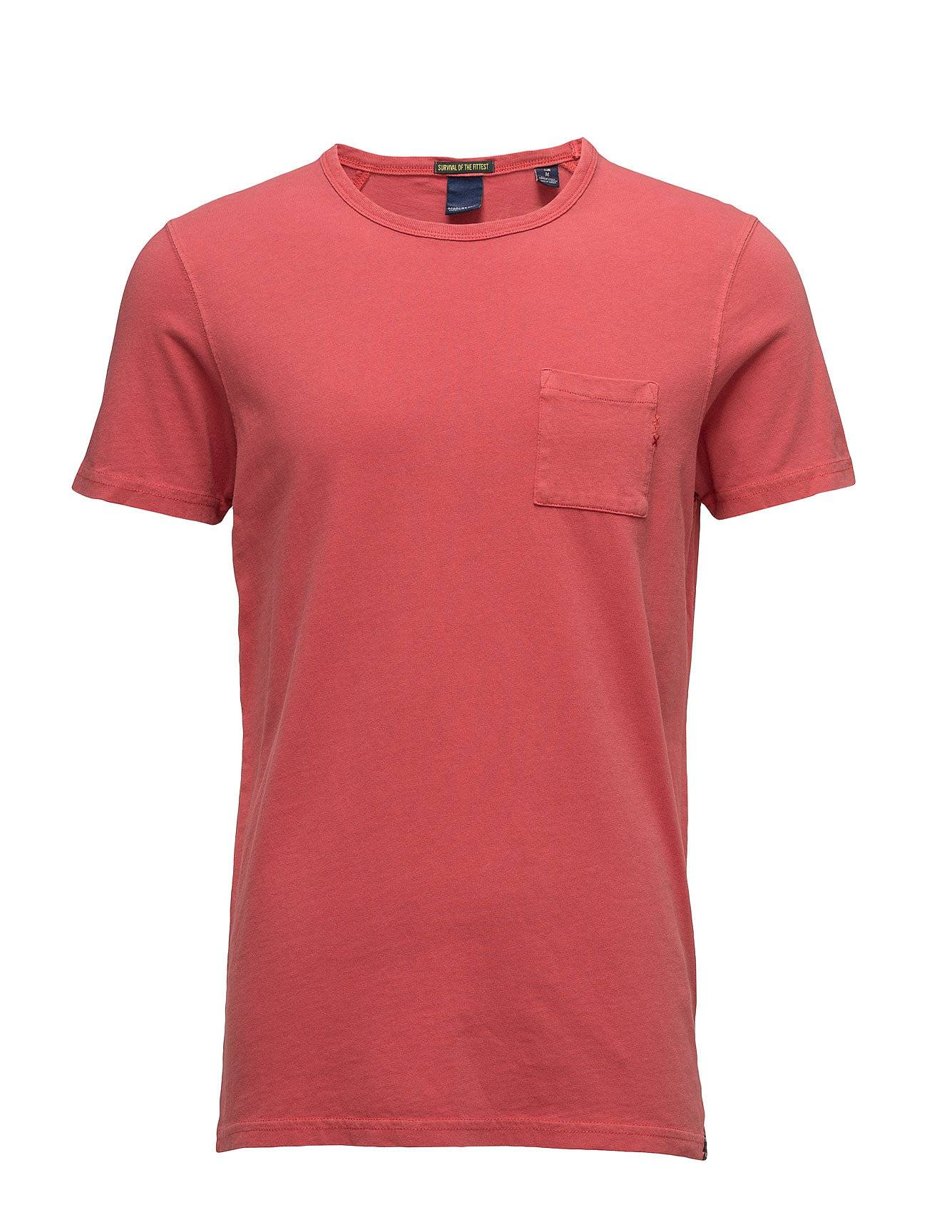 Scotch & Soda Ams Blauw Regular Fit Tee In Autumn Colours With Wash Effect