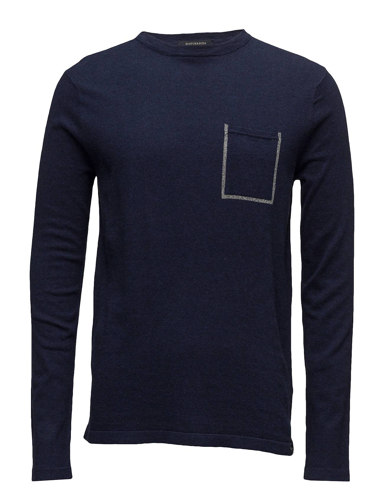 Scotch & Soda Crewneck Pullover In Soft Cotton Quality  With Contrast Ches