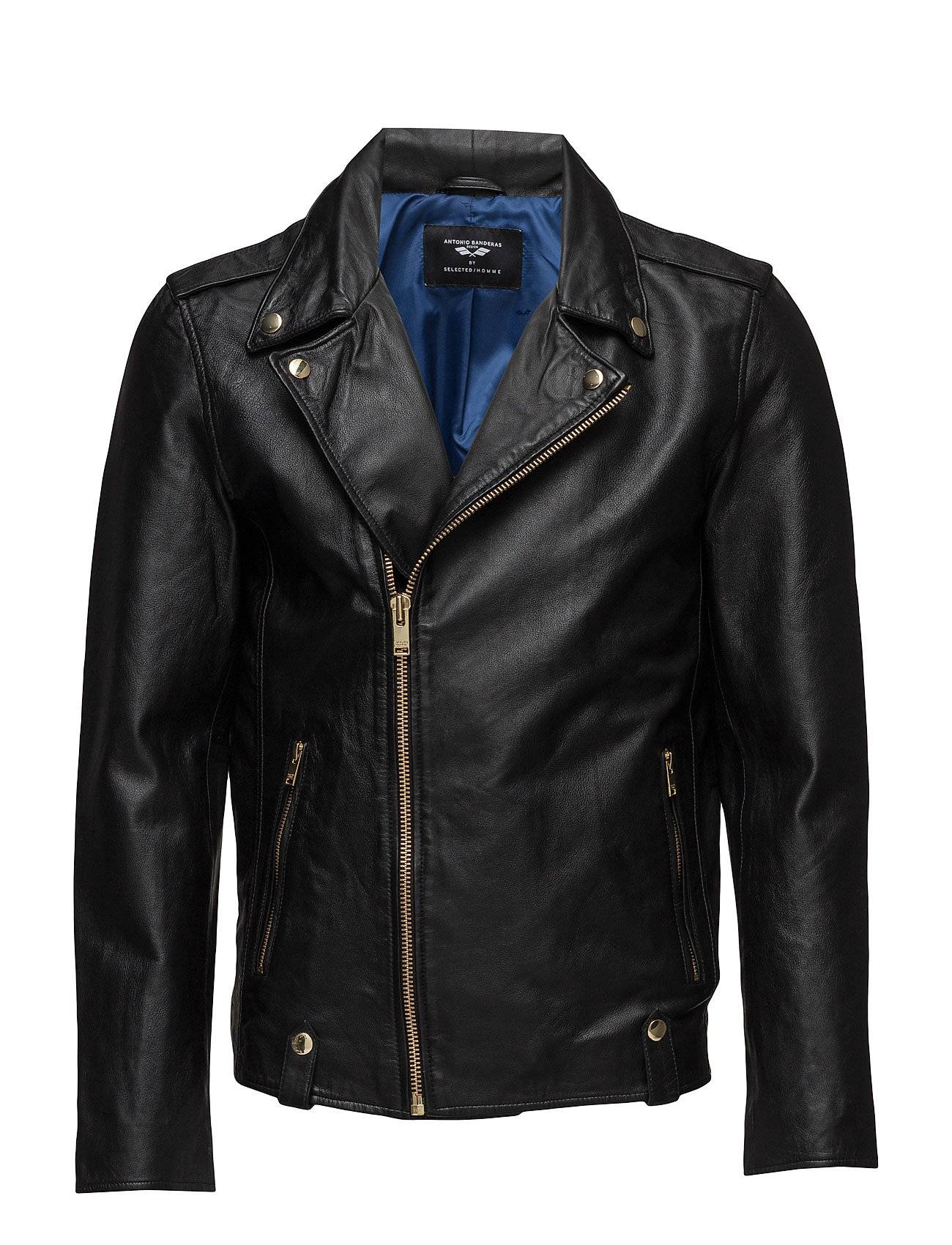 Selected Homme Ab New Biker Gold Leather Jacket