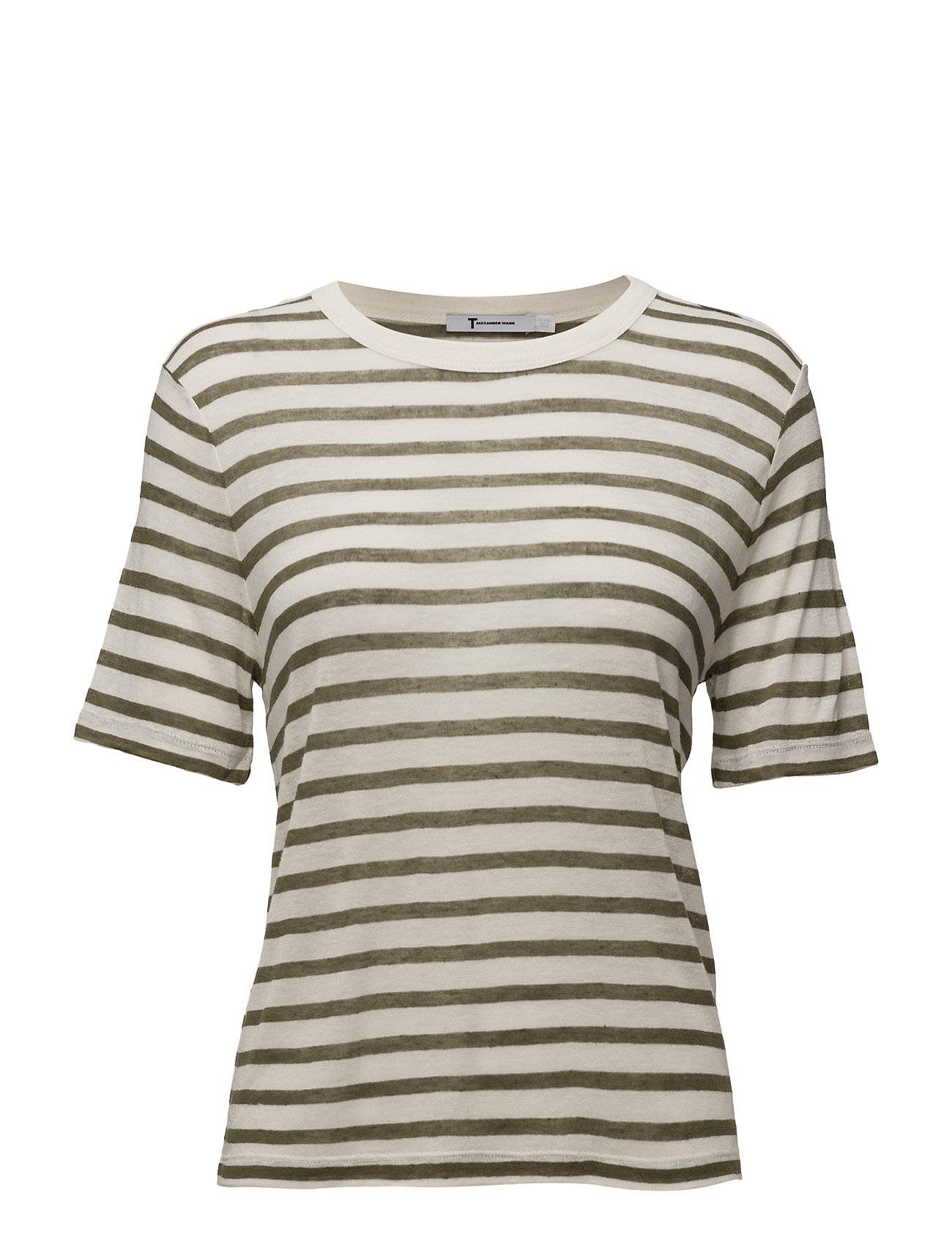 T by Alexander Wang Rayon Linen Stripe Shortsleeve Cropped Tee