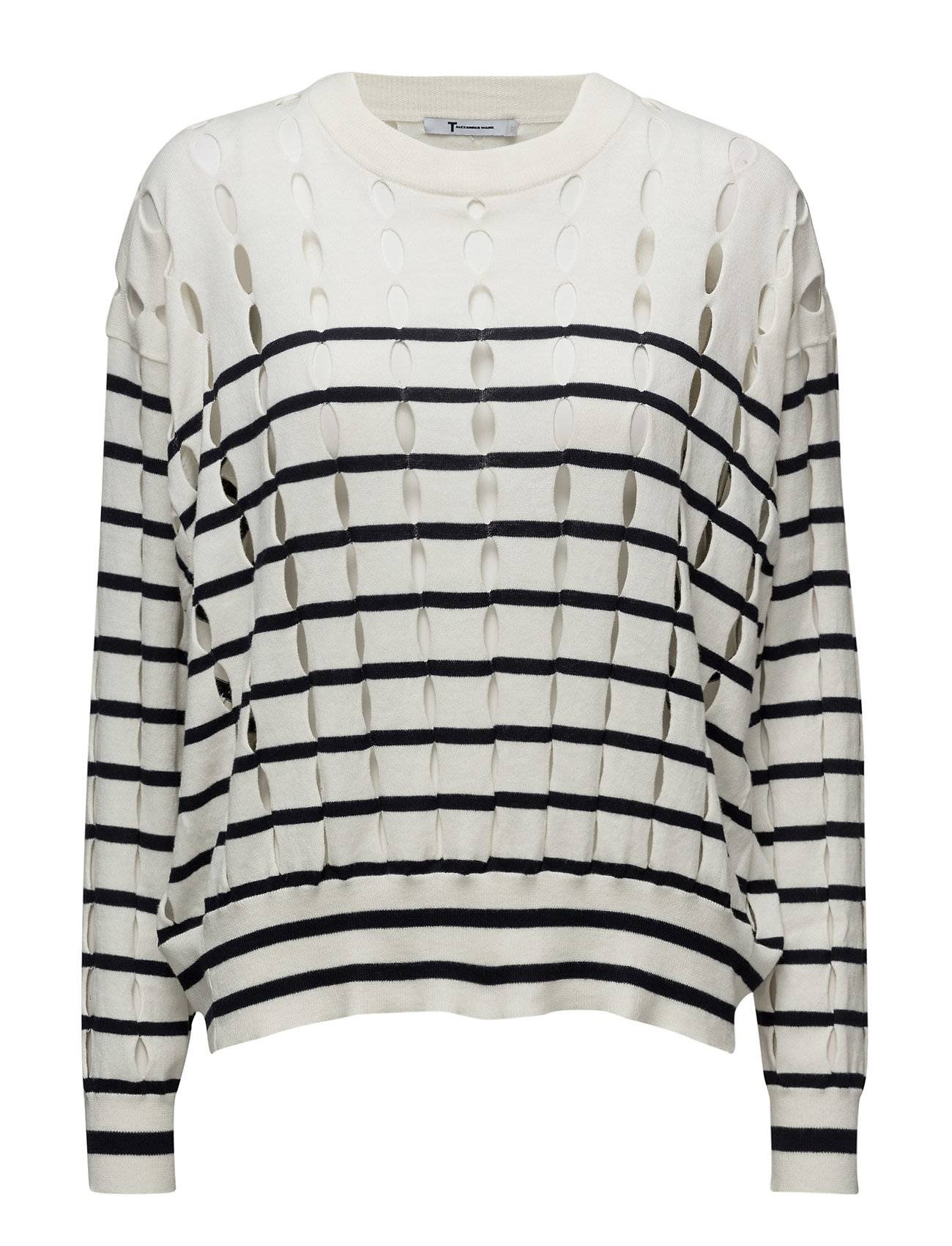 T by Alexander Wang Stripe Cotton Crewneck Pullover With Slits