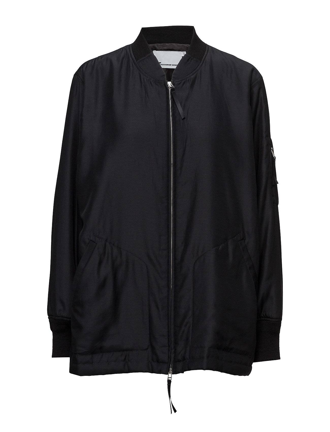 T by Alexander Wang Silk Cotton Habotai Lightly Lined Oversized Bomber