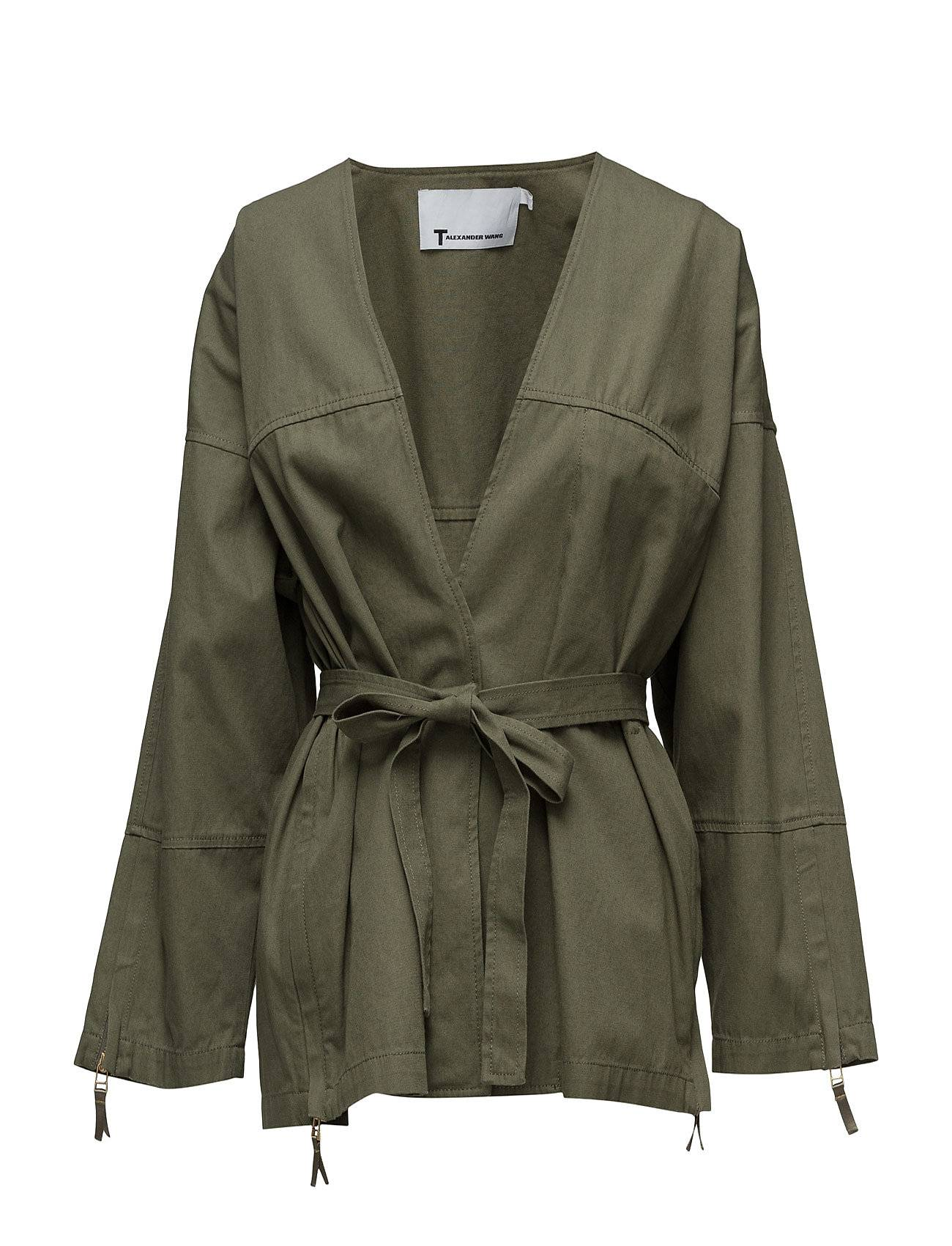 T by Alexander Wang Garment Washed Lightweight Cotton Wrap Jacket