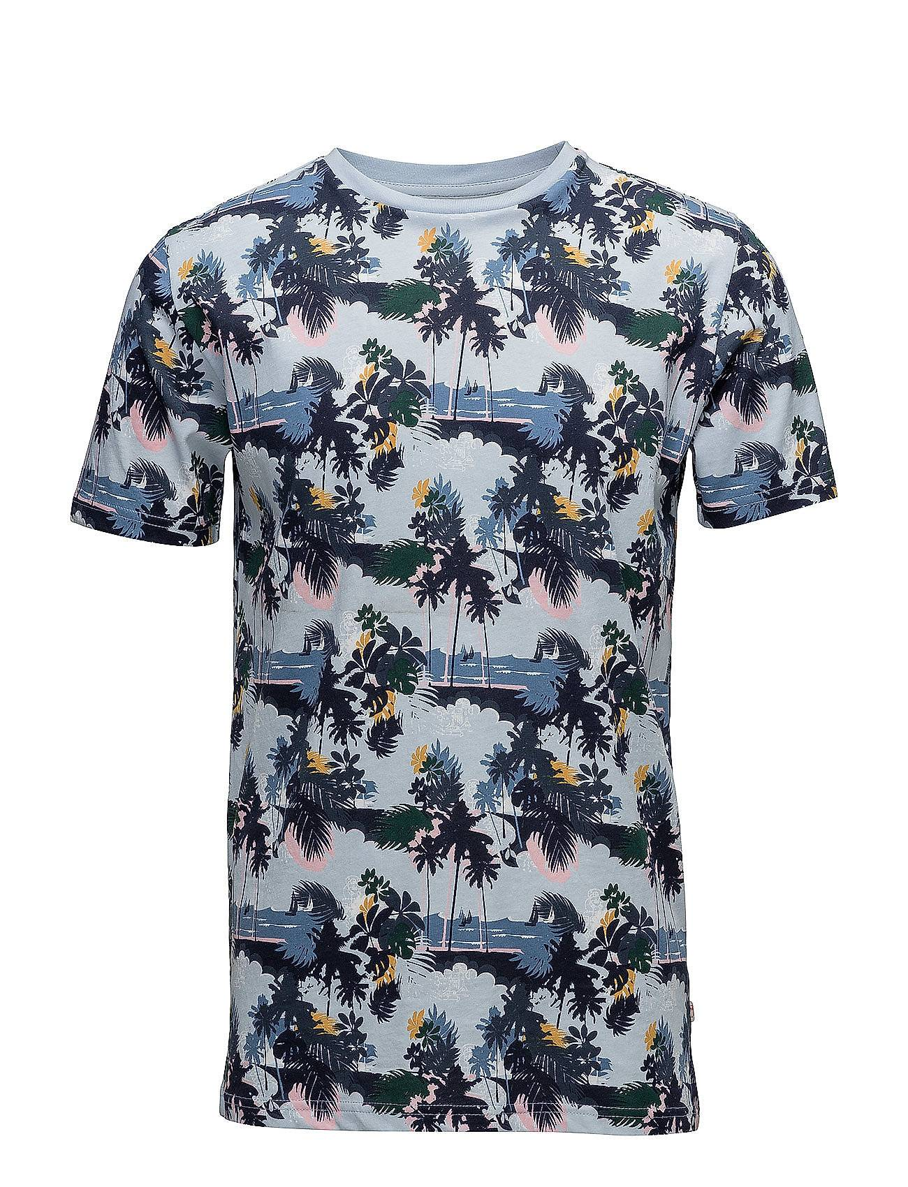 Knowledge Cotton Apparel T-Shirt With All Over Seam, Palm Pr
