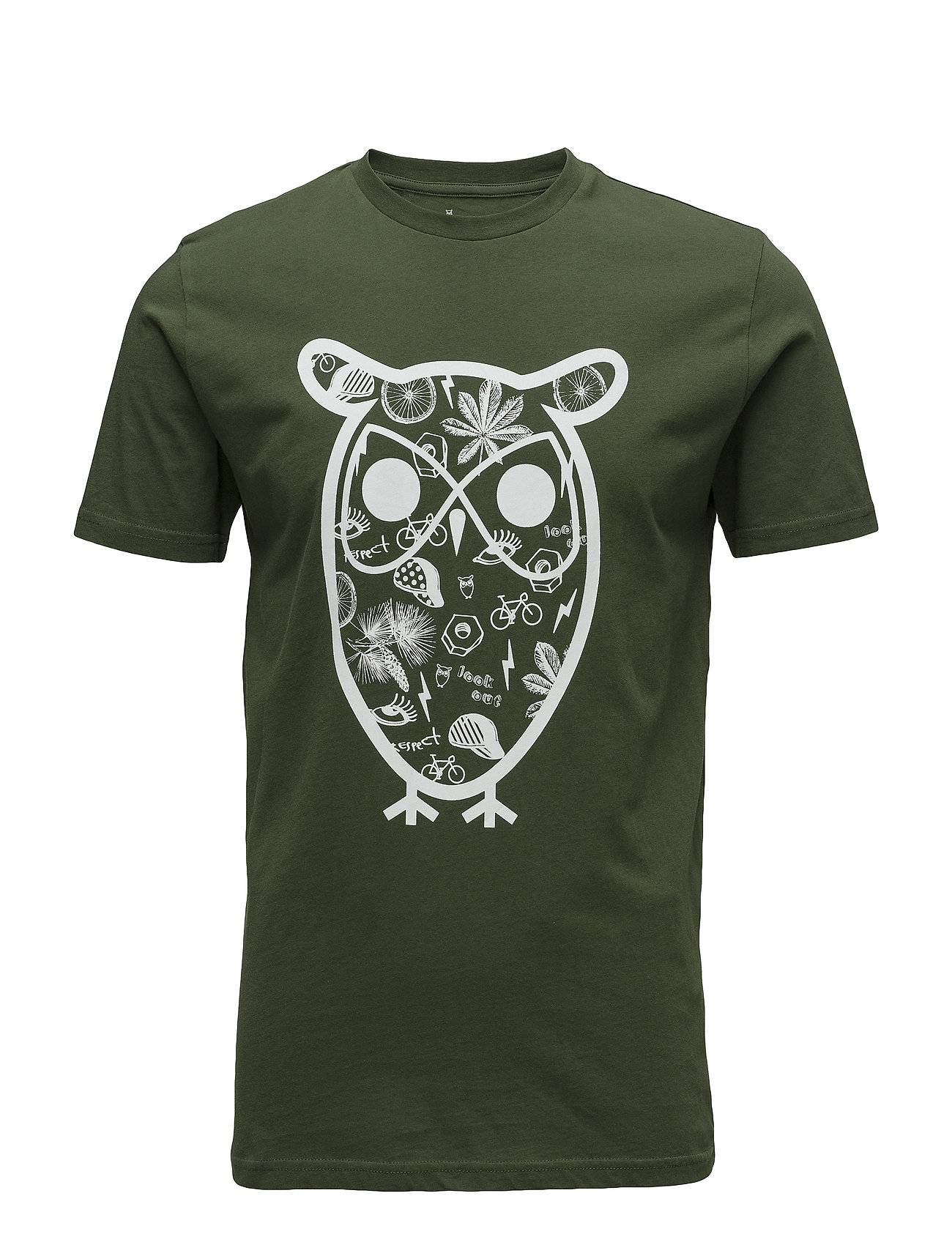 Knowledge Cotton Apparel T-Shirt With Big Owl Concept Print