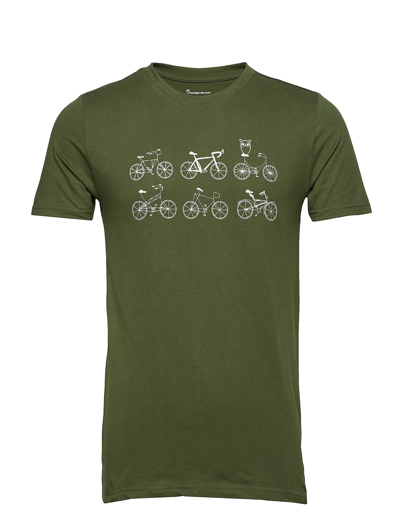 Knowledge Cotton Apparel T-Shirt With Printed Bikes On A Lin