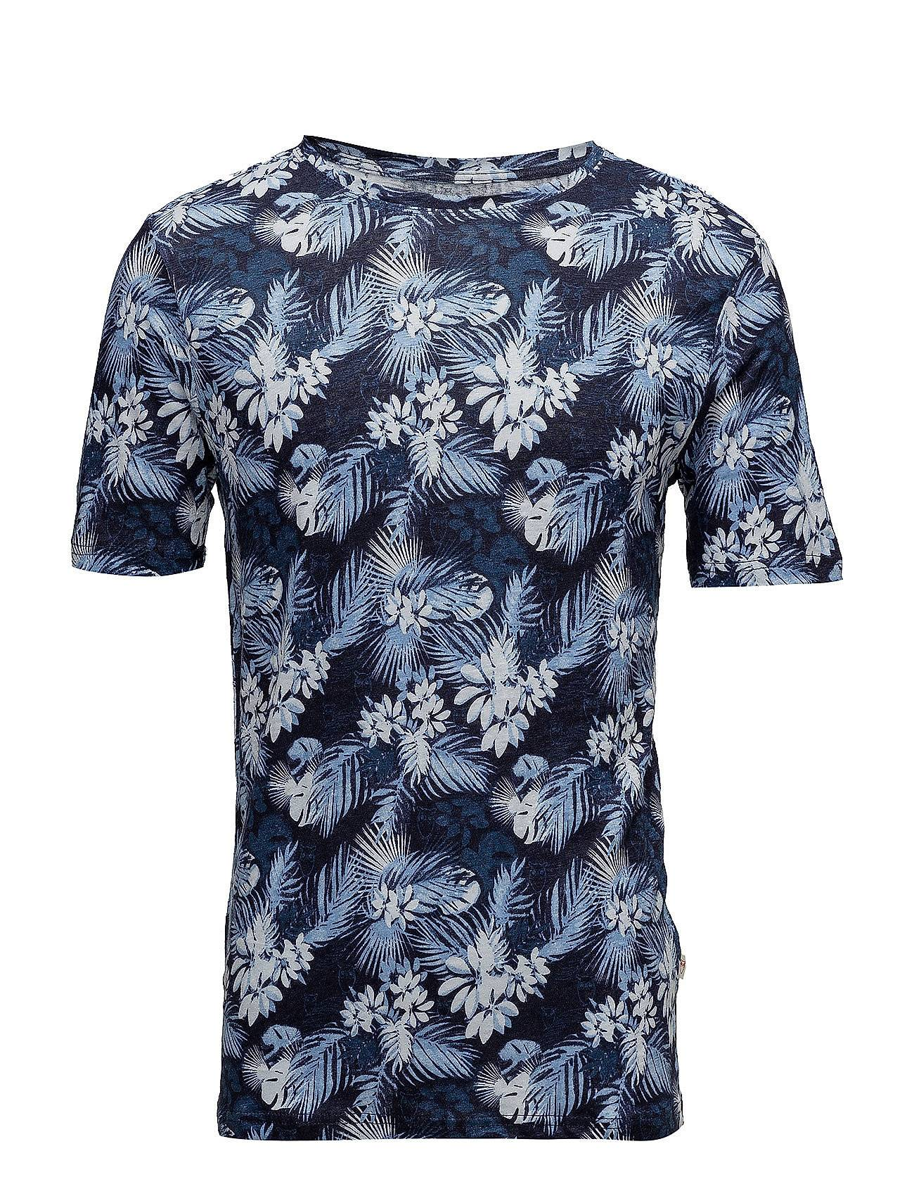 Knowledge Cotton Apparel Linen T-Shirt With All Over Print -