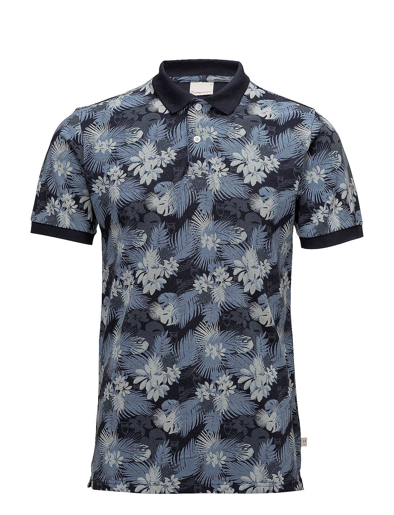 Knowledge Cotton Apparel Pique Polo With Big Palm Leaf Print