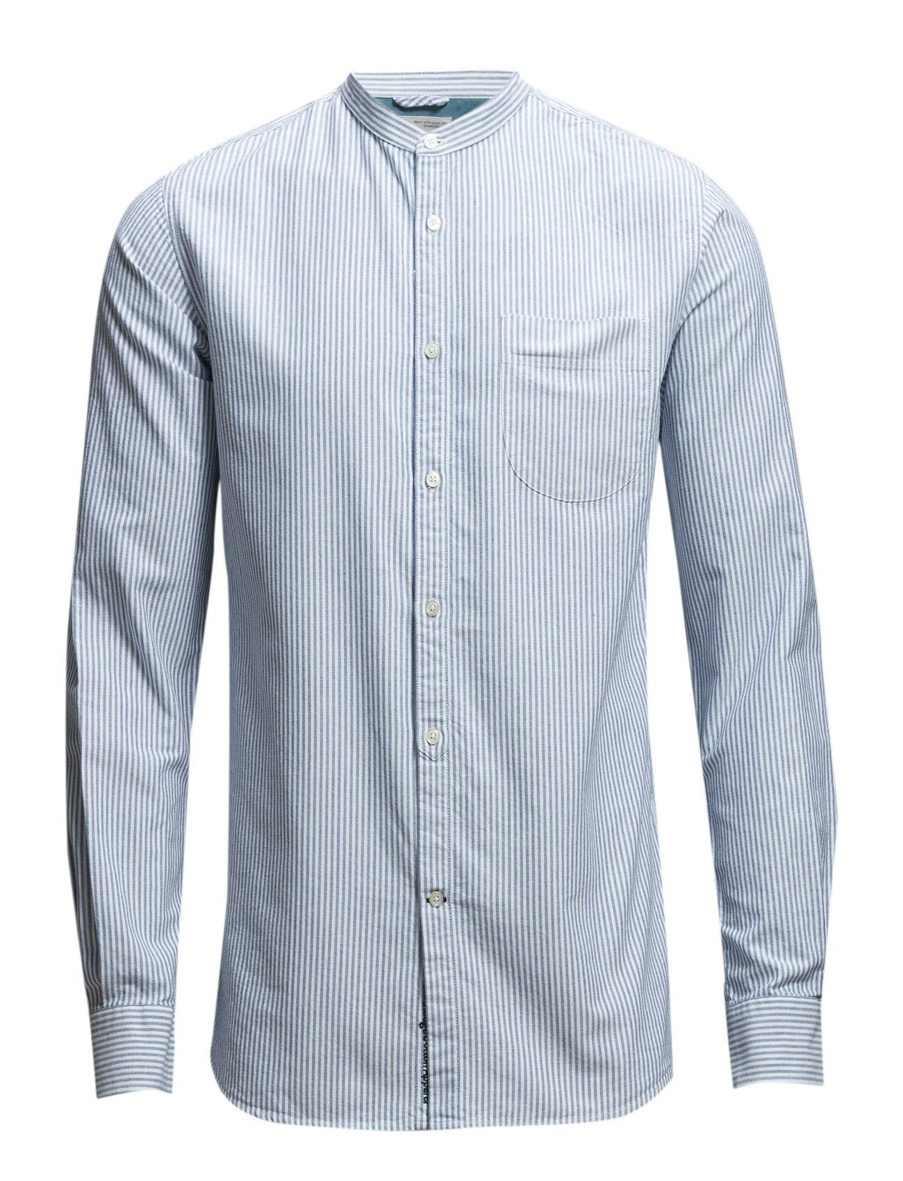 Knowledge Cotton Apparel Stand Collar Striped Shirt - Gots