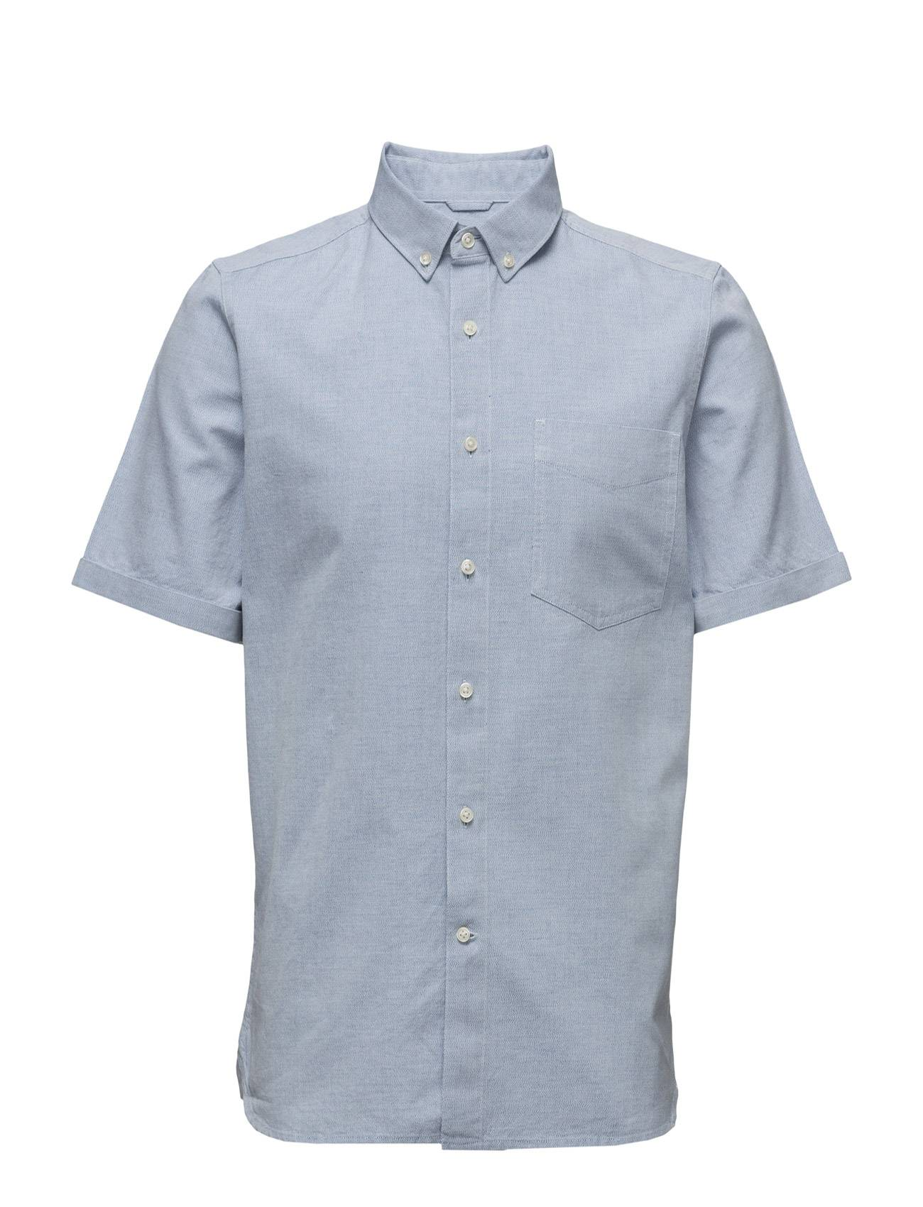 Knowledge Cotton Apparel Short Sleeved Yarn Dyed Striped Shi