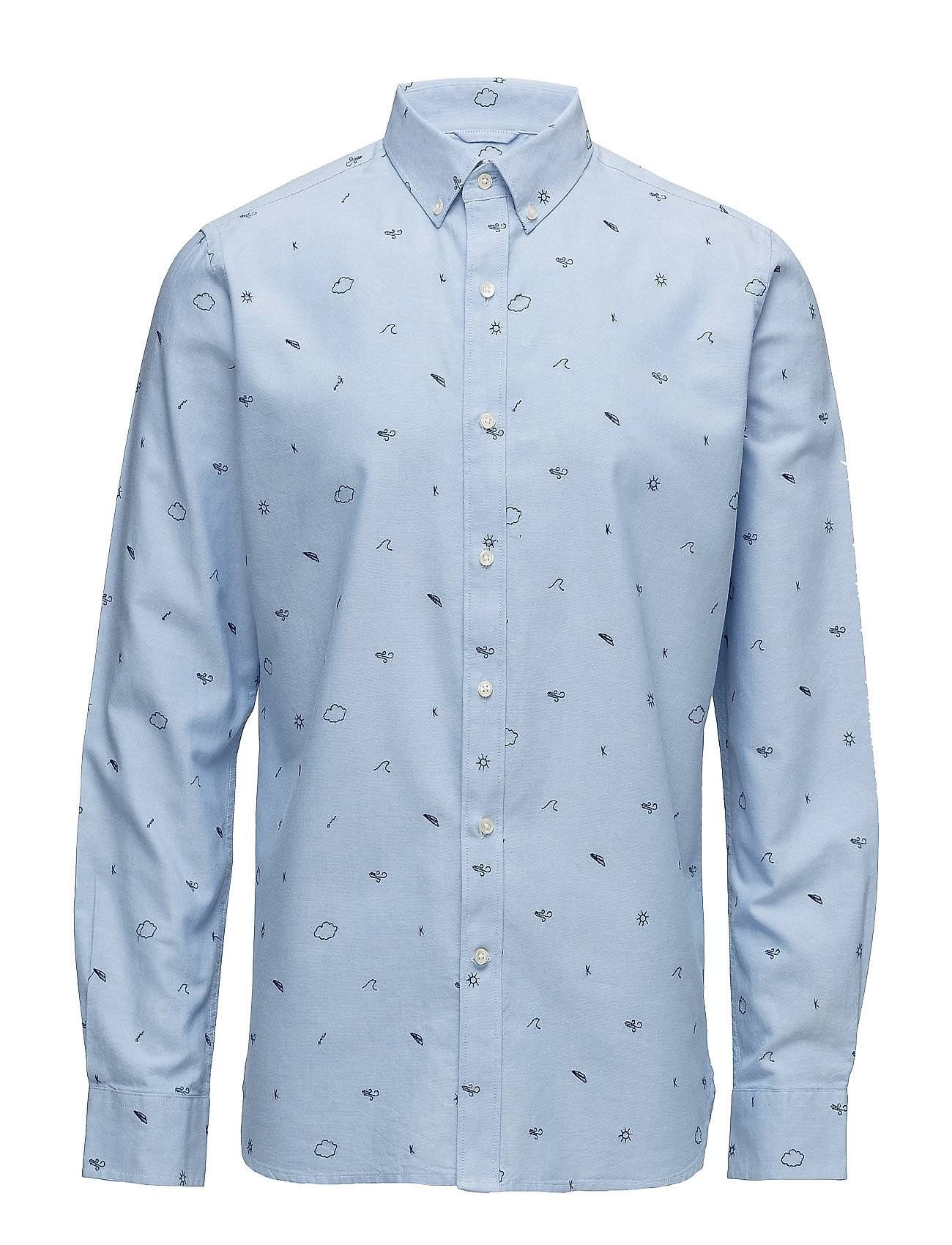Knowledge Cotton Apparel Oxford Shirt W/Allover Embroidery -