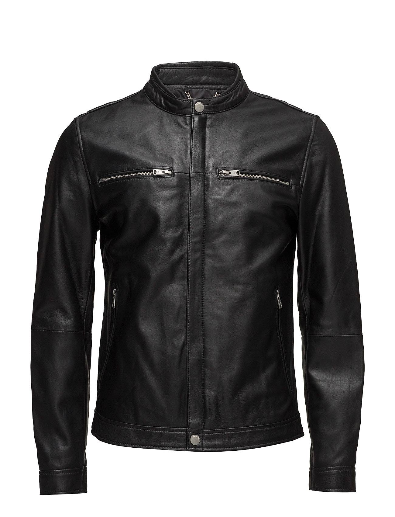 Mango Man Zip-Detail Leather Biker Jacket