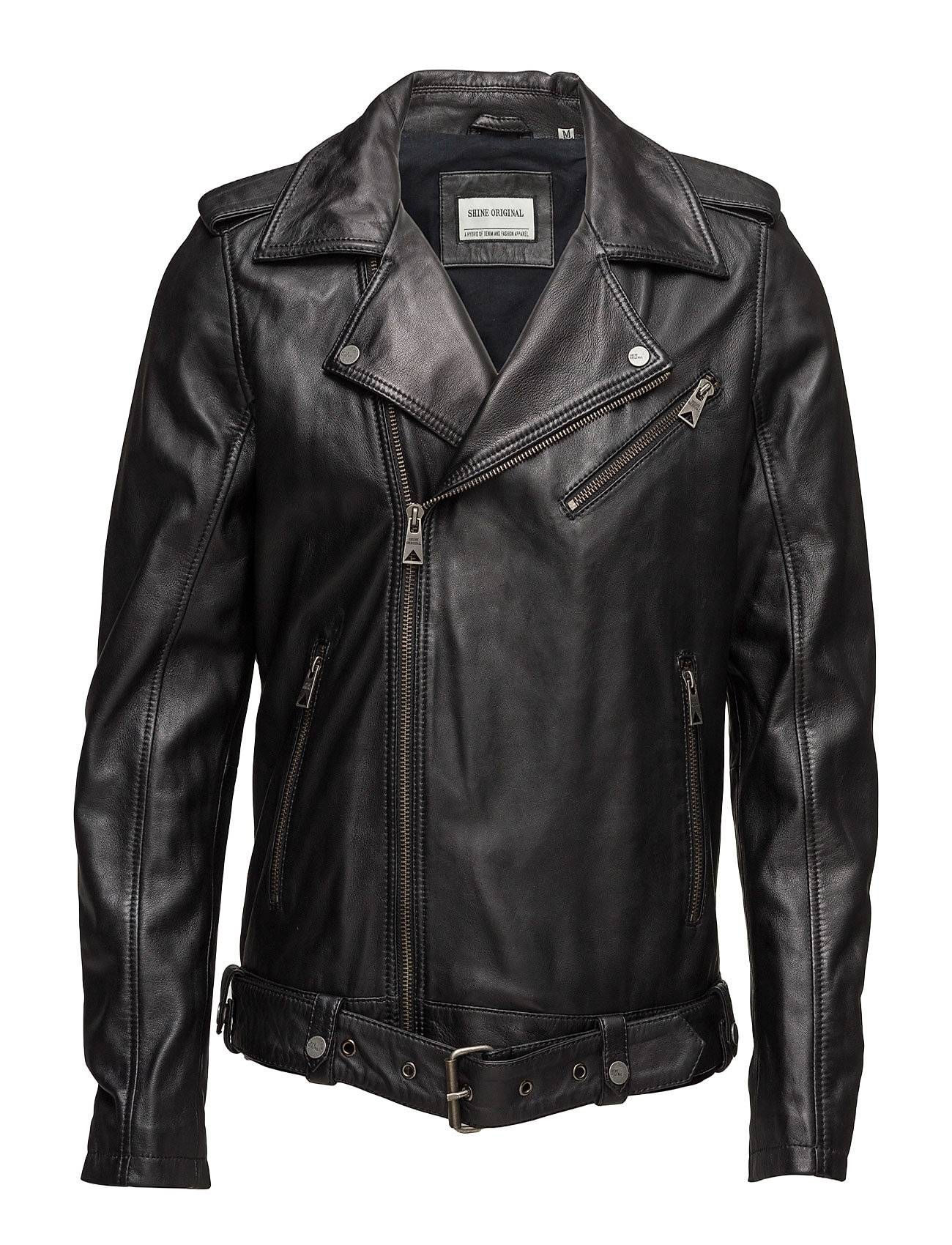 Shine Original Worn Look Leather Biker Jacket