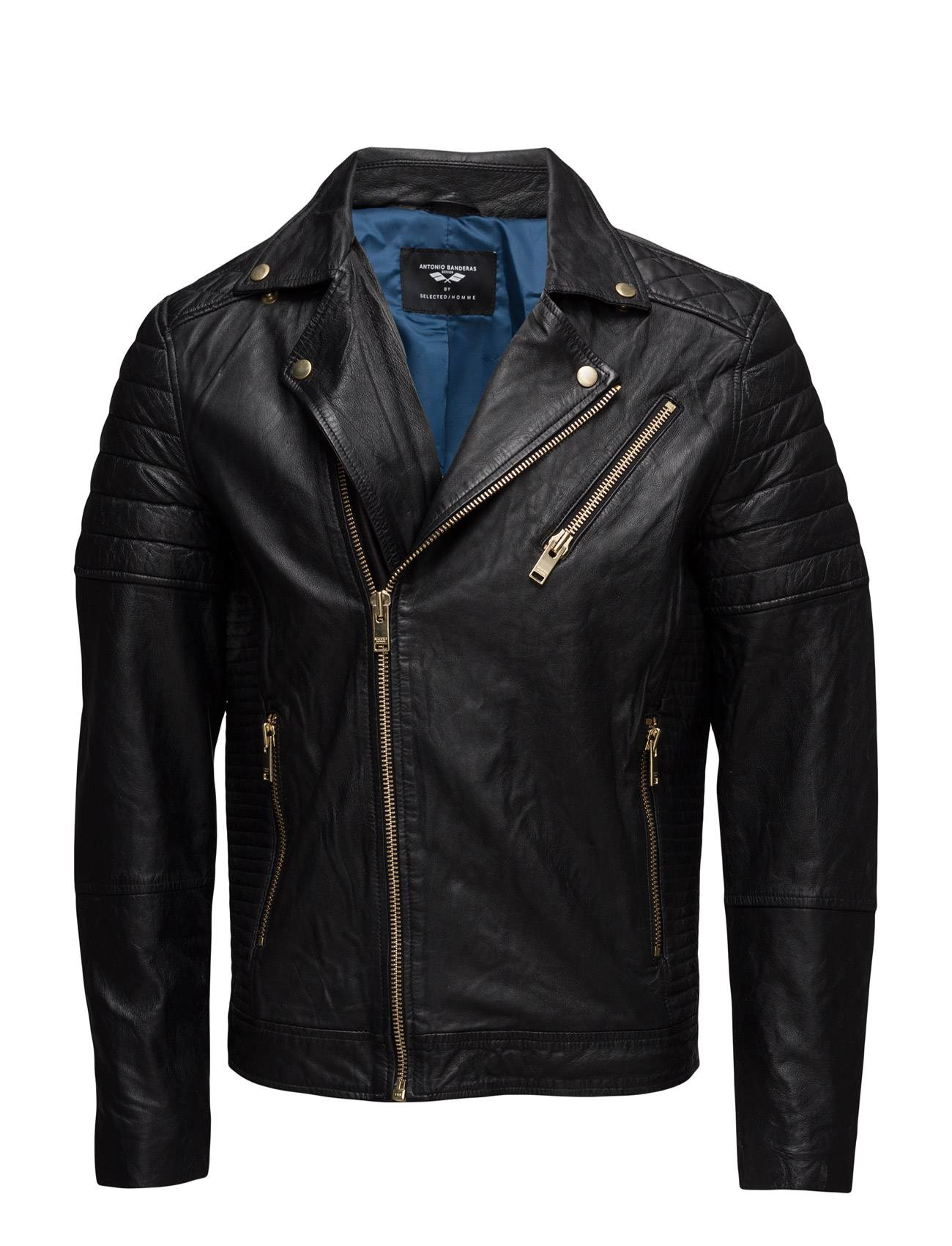Selected Homme Ab Gold Leather Jacket