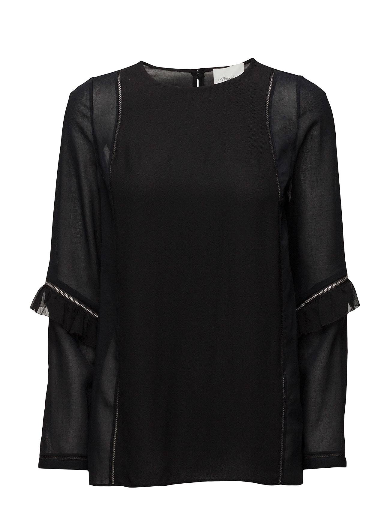 3.1 Phillip Lim Ls Top W Ruffle And Zip Sleeve Detail