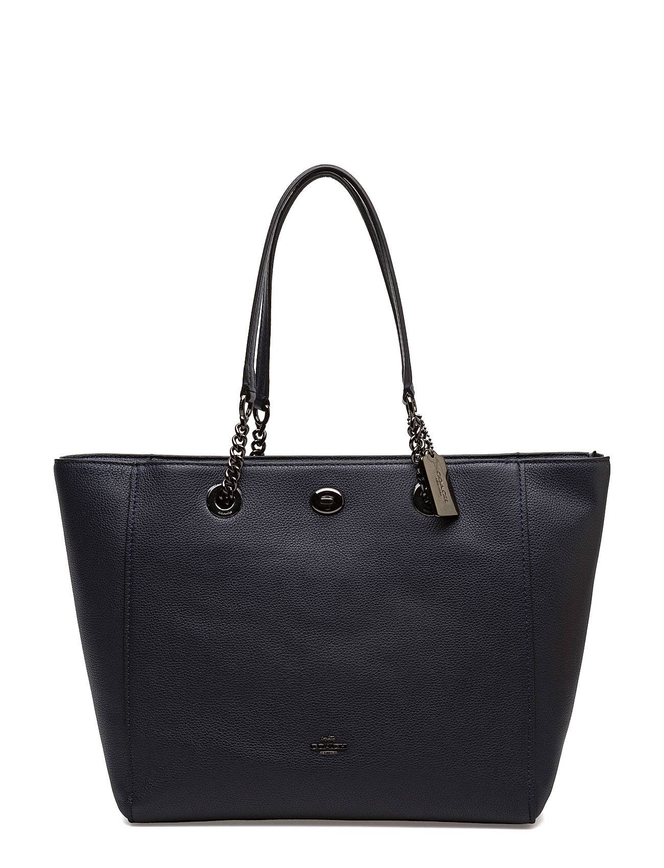 Coach Polished Pebble Lthr Turnlock Chain Tote