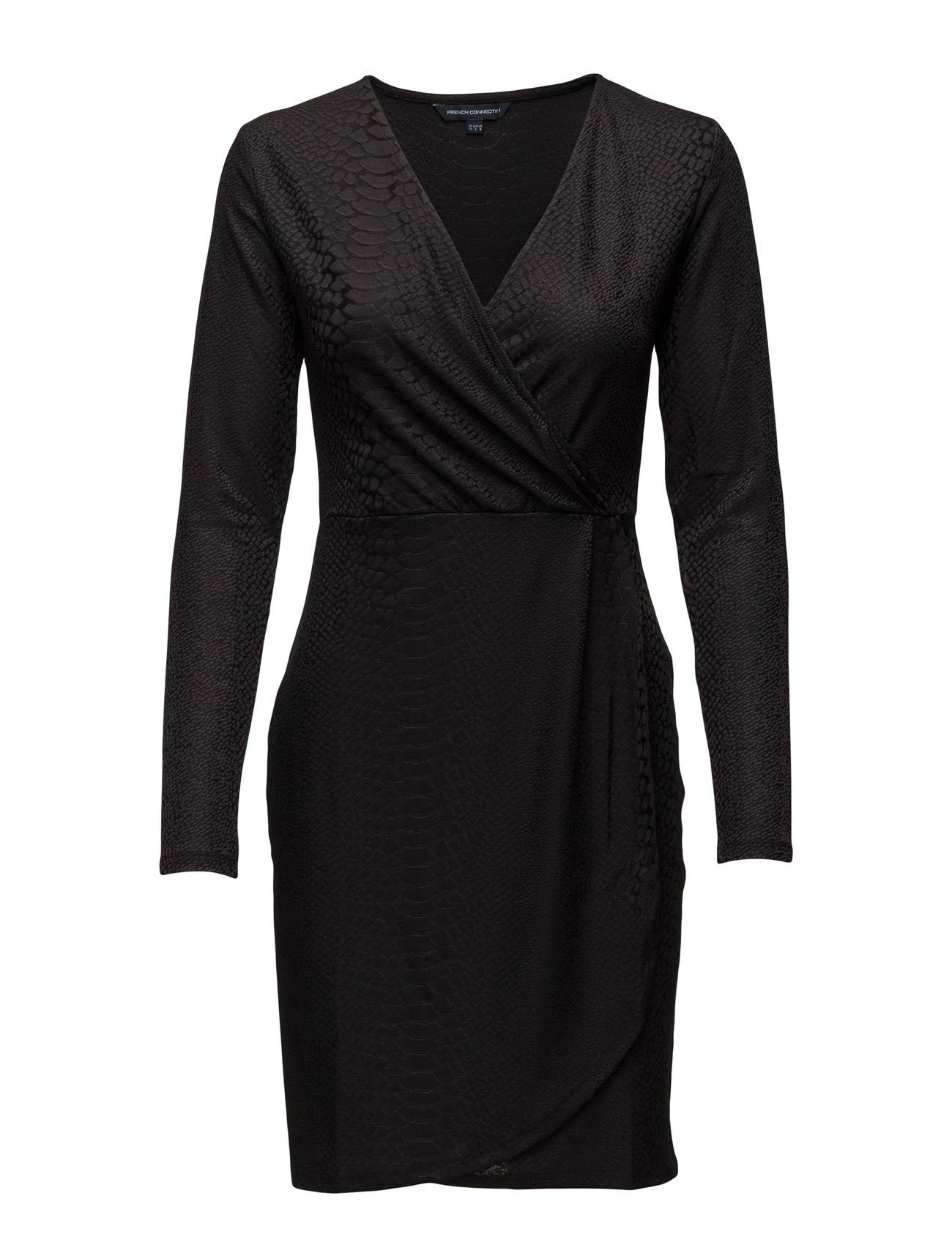 French Connection Snake Jacquard Ls Wrap Dress