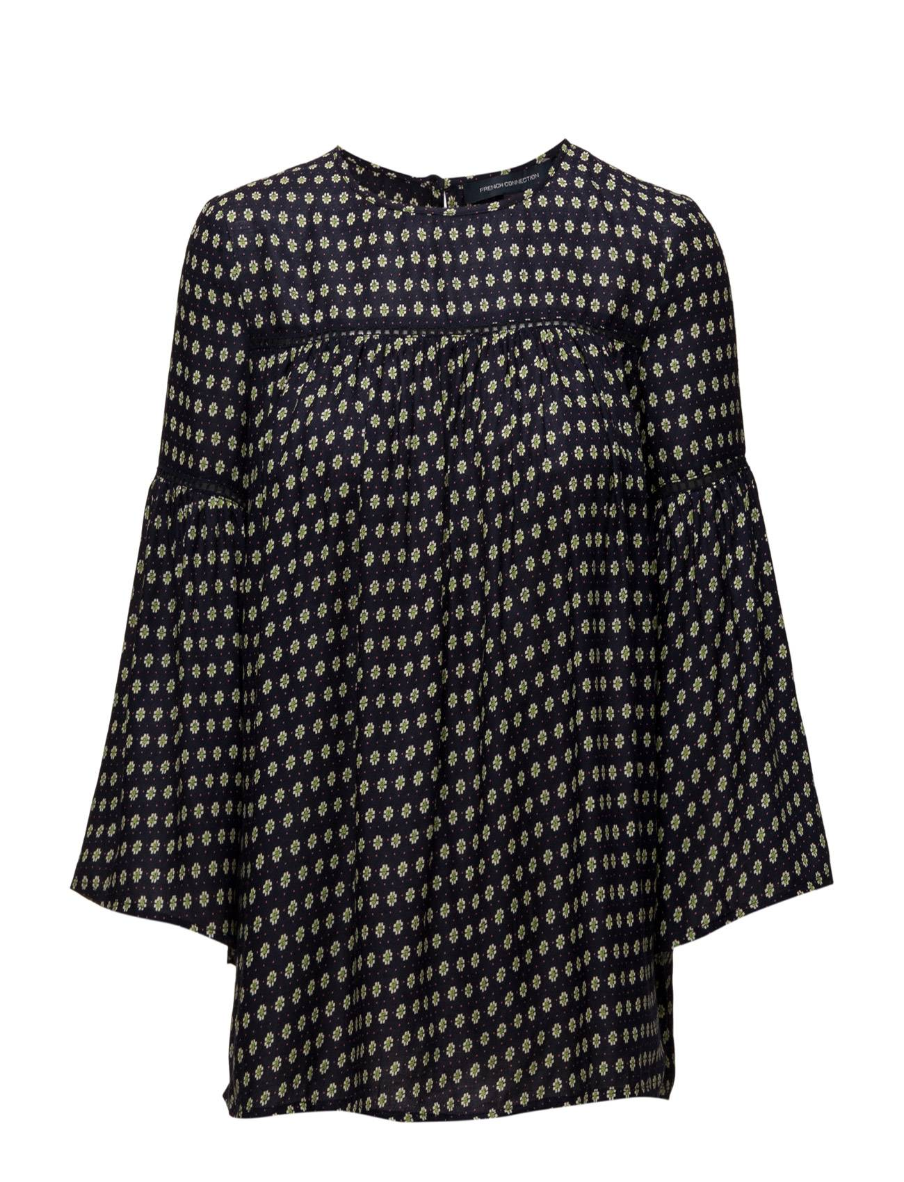 French Connection Bacongo Dot Fluted Sleeve Top