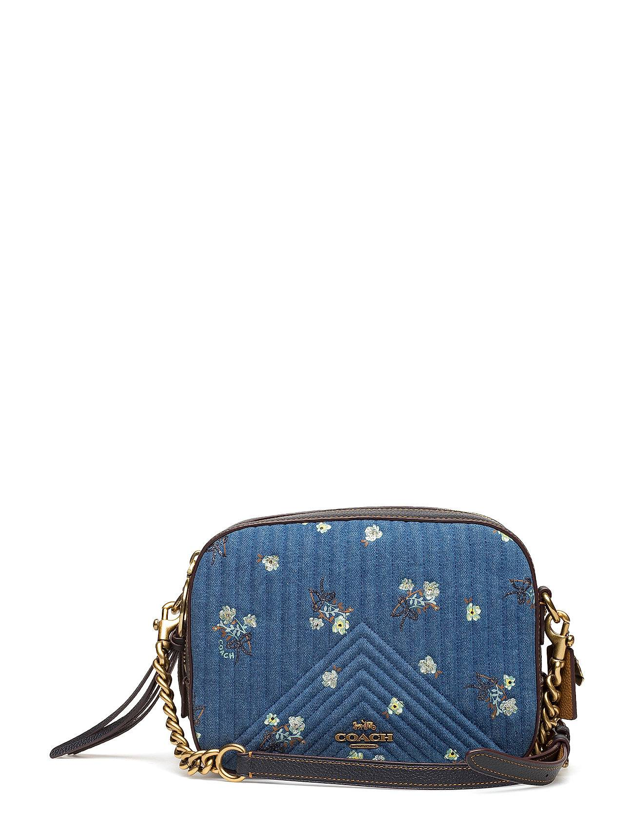 Coach Quilted Denim Floral Bow Print Camera Bag