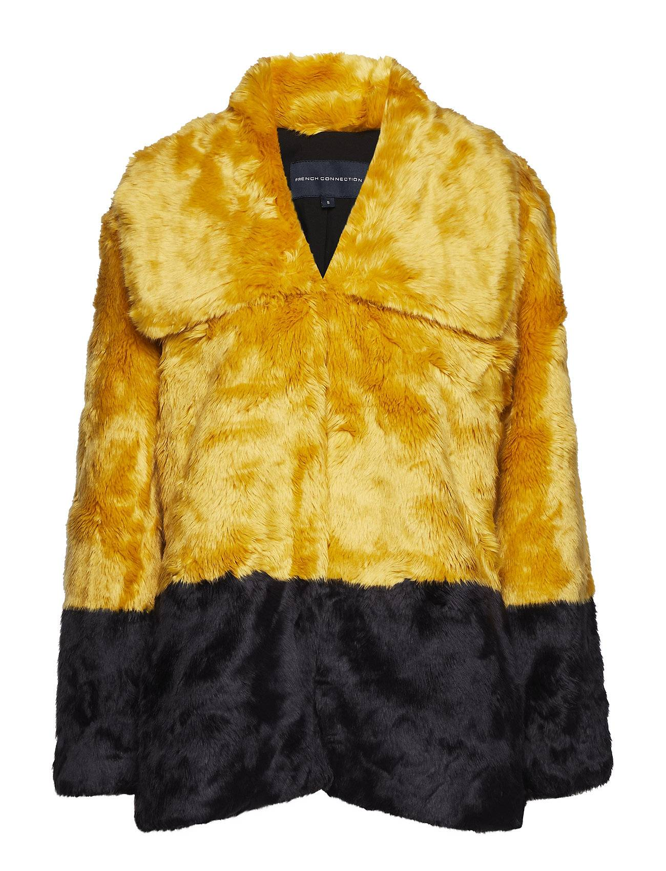 French Connection Sebille Faux Fur Clrblock Coat