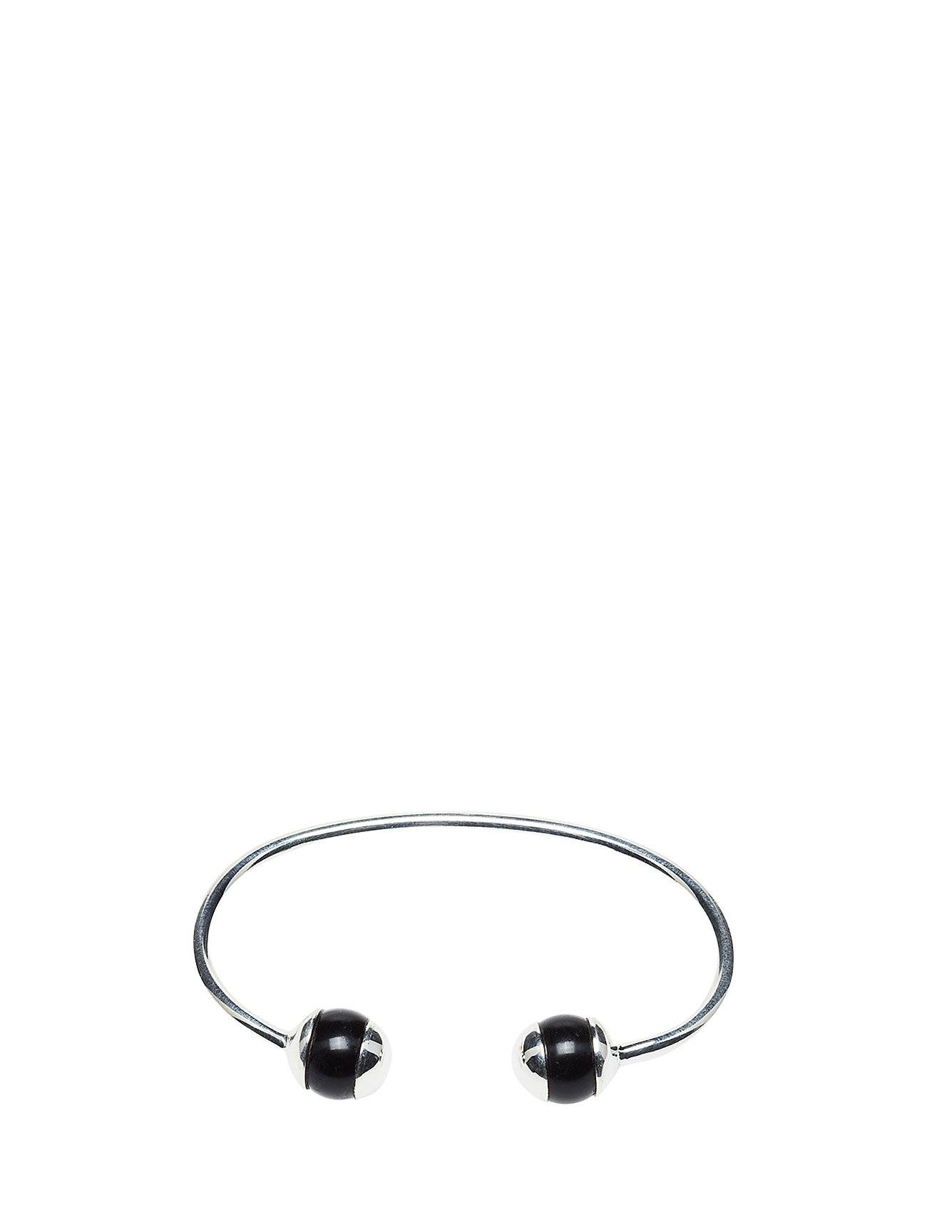 Syster P Deco Ball Bangle Silver Black Onyx