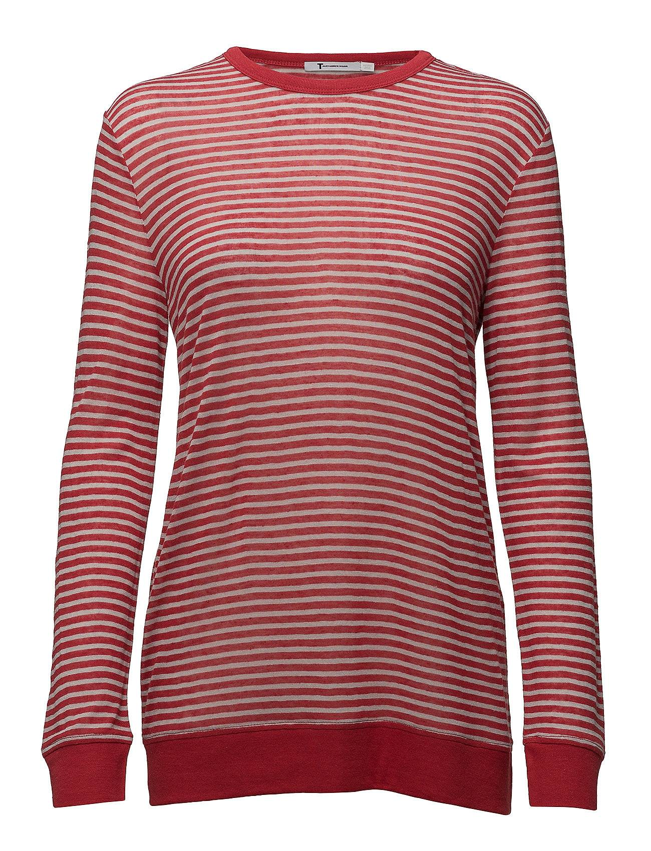 T by Alexander Wang Striped Slub Jersey L/S Tee In Mini Stripe